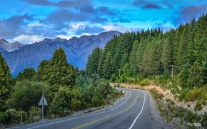 Картинка дорога, лес, горы, природа, Аргентина