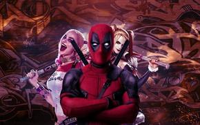 Обои cinema, girl, sword, katana, man, Deadpool, movie, ken, blade, film, mask, strong, Harley Quinn, ninjaken, ...