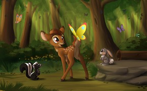 Обои Bambi, бабочки, зайчик, природа, скунс, by Sirzi, олененок