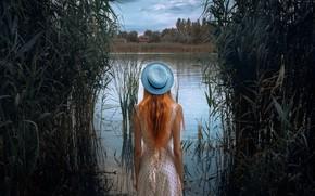 Картинка девушка, река, платье, шляпка, Михаил Потапов