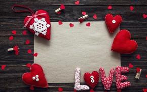 Картинка любовь, сердце, сердечки, red, love, heart, wood, romantic, Valentine's Day, decoration