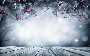 Обои winter, christmas, xmas, Рождество, balls, gift, fir tree, merry christmas, snow, Новый Год, decoration