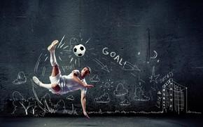 Обои гол, кроссовки, гольфы, униформа, фон, удар, футбол, креатив, мяч, футболист, в белом, мужчина, шорты, прыжок, ...