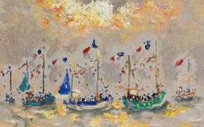Картинка пейзаж, картина, парус, Андре Гамбург, Andre Hambourg, Лодки в Праздник