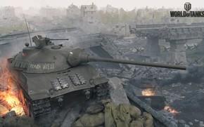 Обои город, разрушения, World of Tanks, танки, Skoda T50
