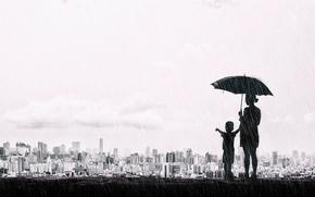 Картинка город, зонтик, дождь, настроение, мальчик, чёрно-белая, панорама, Тайвань, монохром, ребёнок, мать, Тайчжун