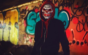 Картинка череп, маска, капюшон, мужчина