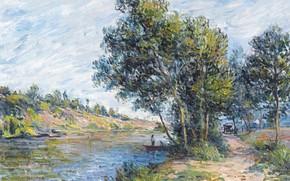 Картинка деревья, пейзаж, река, картина, Alfred Sisley, Альфред Сислей, Дорога в Венё-Ле-Саблон