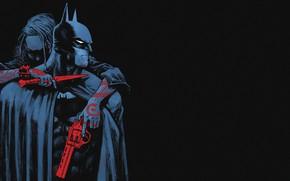 Обои Вика, Оружие, Красный, Costume, Cloak, Gun, Костюм, Enemy, Комикс, Bruce Wayne, Red, Detective, Татуировка, Черный, ...