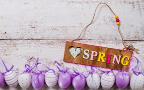 Картинка весна, Пасха, wood, spring, Easter, purple, eggs, decoration, Happy, яйца крашеные