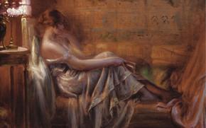 Картинка девушка, задумчивая, Delphin Enjolras, Академизм, При свете лампы