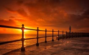 Картинка закат, маяк, Англия, ограждение, зарево, Корнуолл