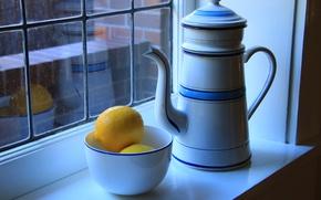 Обои окно, пиала, лимоны, натюрморт, чайник