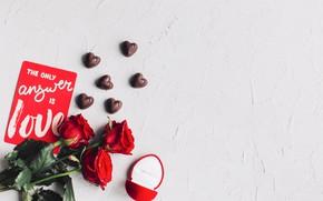 Картинка конфеты, Розы, Кольцо, Праздник, Открытка, День влюбленных