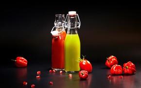 Картинка фон, бутылка, сок, juice, перец, помидоры, background, tomatoes, colored, pepper