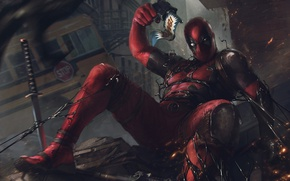 Картинка Пистолет, Автобус, Оружие, Deadpool, дэдпул, Катана, Веном, Venom, Bang