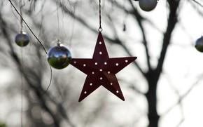 Картинка шарики, игрушки, звезда