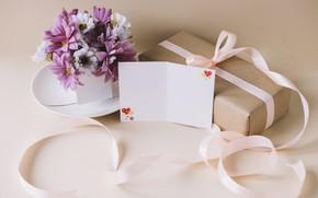 Картинка цветы, flowers, spring, лента, букет, хризантемы, подарок, purple, gift, romantic, love, with love