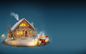 Картинка Новый Год, Рождество, house, winter, snow, merry christmas, decoration