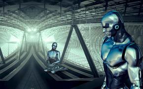 Картинка свет, металл, трубы, огни, пространство, будущее, люди, фантастика, конструкция, женщина, человек, робот, балки, технологии, роботы, …