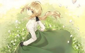 Картинка girl, grass, dress, anime, violet evergarden