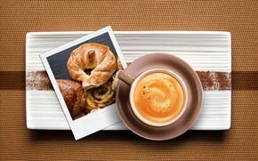 Картинка фотография, кофе, чашка, напиток, капучино, вид сверху, круассан