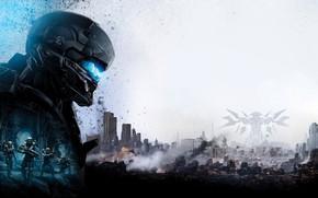 Картинка солдаты, игра, Halo 5: Guardians, город, арт