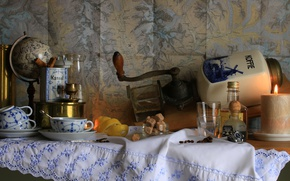 Картинка стакан, лимон, кофе, свеча, чашка, натюрморт, глобус, кофемолка