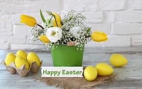 Картинка цветы, праздник, букет, пасха, тюльпаны, tulips, spring, Easter, eggs, Happy