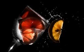 Картинка лимон, бокал, напиток