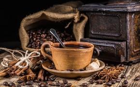 Картинка кофе, зерна, чашка, hot, корица, cup, beans, coffee, специи