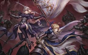 Обои Судьба, Fate, арт, jeanne d'arc, аниме, grand order, saber, девушки