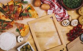 Картинка яйца, рамка, Грибы, Италия, помидоры, салфетка, мука, Пицца