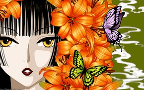 Обои бабочки, девушка, аниме, лицо, xxxHolic, арт, лилии, цветы