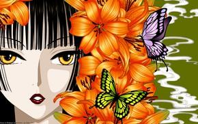 Обои девушка, бабочки, цветы, лицо, лилии, аниме, арт, xxxHolic