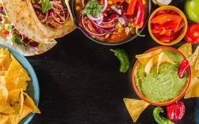 Картинка кукуруза, лук, перец, соус, начос, песто, тако, мексиканская кухня