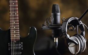 Картинка музыка, гитара, наушники, звук, электро, микрофон, творчество, Студия