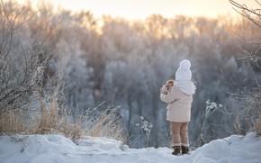 Обои зима, пейзаж, котенок, девочка