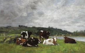 Обои Коровы на Пастбище, животные, Eugene Boudin, картина, Эжен Буден