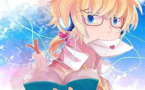 Картинка очки, книга, парень, Vocaloid, Вокалоид, Кагомине Лен