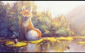 Картинка пруд, лис, охота, кусты, art, огромный, индеец, Gop gap