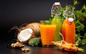 Картинка кокос, сок, напиток, мята, морковь, орешки, брокколи