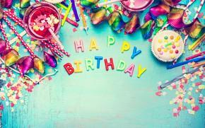 Картинка шарики, colorful, конфеты, сладости, Happy Birthday, colours, конфетти, celebration, candy, decoration, День Рождения