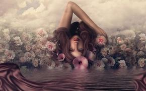 Картинка вода, девушка, отражение, розы, ключ