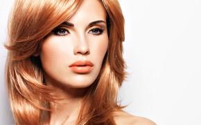 Картинка взгляд, Valua Vitaly, лицо, прическа, макияж, рыжие волосы, девушка, модель