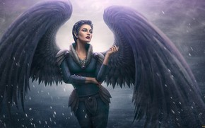 Картинка женщина, ангел, аниме, арт