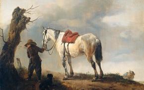 Обои Белая Лошадь, масло, Филипс Вауэрман, картина