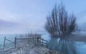 Обои иней, туман, река