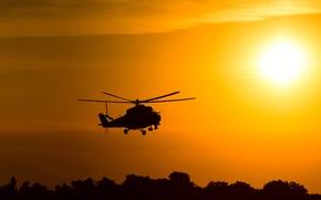 Обои разработчик, небо, рассвет, вертушка, силуэт, helicopter, полет, боке, ударный, wallpaper., beautiful background, Ми-24, вертолет, солнце, ...