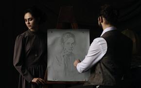 Картинка девушка, рисунок, портрет, художник, карандаш, творчество